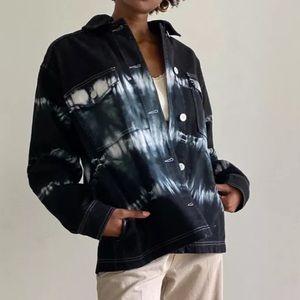 Urban Outfitters Mono Tie-Dye Denim Shirt Black
